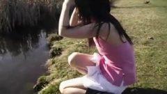 Sweet Thai Teen Dances Around The Duck Filled Pond