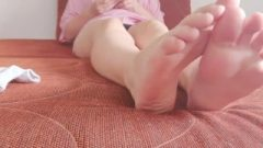 Socks Striptease And Smell Feet From Small Goddees