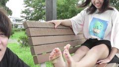 Nippon Nubile Slut Soles Tickled In Park