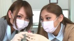 2 Nippon Nurses In Latex Gloves Teasing Patient